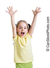 kind, meisje, met, handen op, vrijstaand, op wit, achtergrond