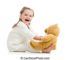 kind, meisje, met, kleren, van, arts, spelend, met, speelbal
