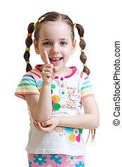 kind, meisje, telling, en, het tonen, wijsvinger
