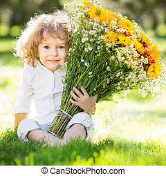 kind, met, bloemen
