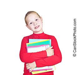 kind, met, een, stapel, van, notitieboekjes