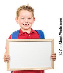 kind, met, schooltas, vasthouden, meldingsbord
