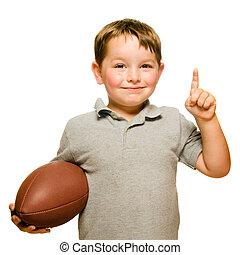 kind, met, voetbal, vieren, door, het tonen, dat, he's,...
