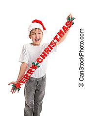 kind, mit, fröhlich, christrmas