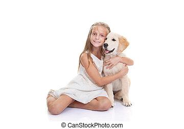kind, mit, haustier, junger hund, hund