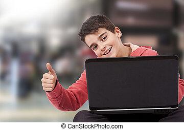 kind, mit, laptop-computer