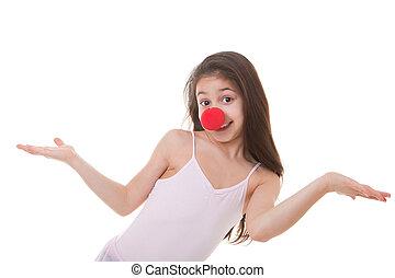 kind, mit, rotes , clown, nase