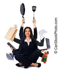 Kind Multi-Tasking Woman - Beautiful happy woman sitting and...