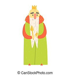 Kind Old King With Orb And Scepter In Green Mantle Fairy-Tale Cartoon Childish Character