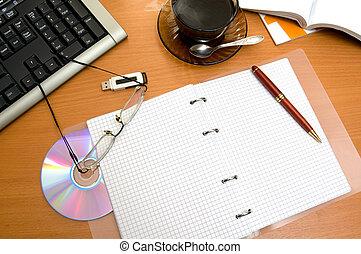 office desktop - Kind on wooden office desktop.