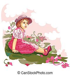 kind, op, bloemenweide
