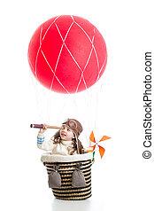 kind, op, verhite lucht ballon, schouwend, door, verrekijker