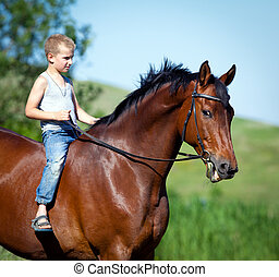 kind, paardrijden, een, groot, voskleurig paard, in, field., jongen, met, paarde, outdoors.