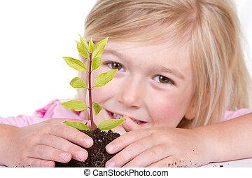 kind, pflanze, lächeln