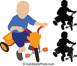kind, reiten, dreiradfahren