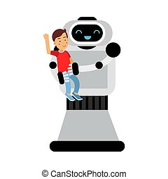 Kind robot home assistant is holding a boy in his arms. Vector illustration.