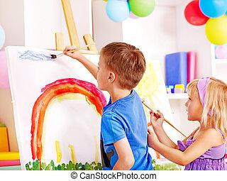 kind schilderstuk, op, easel.