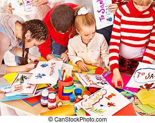 kind schilderstuk, op, kunst, school.