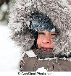 kind, schnee, spielende