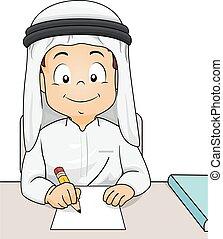 kind, schreiben, studieren, qatari, junge, abbildung