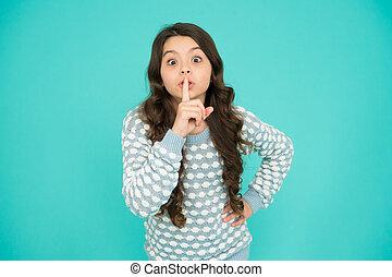 kind, silent., geschichte, erzählte, myth., wenig, überrascht, sein, concept., sie, m�dchen, vertraulich, index, legende, secret., gerecht, finger, lips., gerücht, gesicht, geheimnis, behalten, informationen
