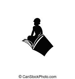 kind, silhouette, het boek van de lezing
