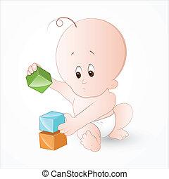 kind spielen, mit, baby- blöcke