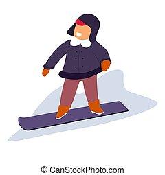 kind, steigung, verschneiter , unten, snowboarding,...