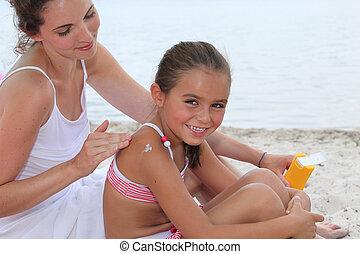 kind, strand, moeder