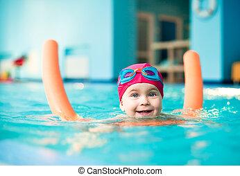 kind, teich, schwimmender