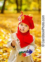 kind, tekening, op, schildersezel, in, herfst, park., creatief, geitje