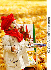 kind, tekening, op, schildersezel, in, herfst, park., creatief, geitjes, ontwikkeling, concept.