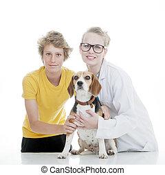 kind, tierarzt, und, haustier, hund