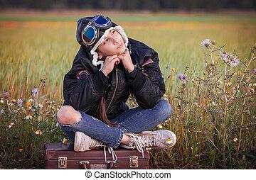 kind, träumende, von, reise, urlaub, oder, feiertage