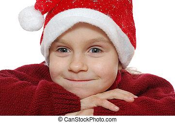 kind, tragen, rotes , santa?s, hubcap.