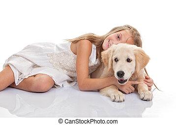 kind, umarmen, haustier, junger hund, hund