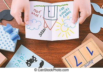 kind, vaders, ruimte, samenstelling, tekening, dag