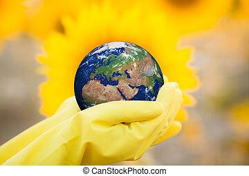 kind, vasthouden, aarde, in, handen