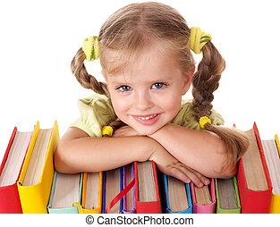 kind, vasthouden, stapel, van, books.