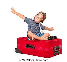 kind, vliegen, op, reizen, koffer, geitje, piloot, in, vliegenier, hoedje, zittende , op, rood, bagage, baby jongen, vrijstaand, op, witte achtergrond