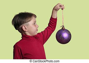 kind, weihnachtskugel