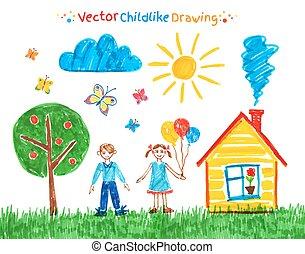 kind, zeichnungen, vektor, set.