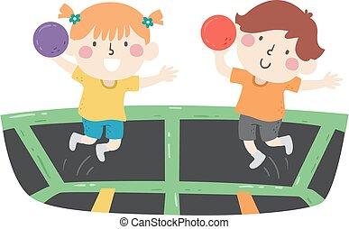 kinder, abbildung, trampolin, dodgeball