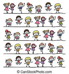 kinder, abstrakt, zeichnung, hand, karikatur, glücklich