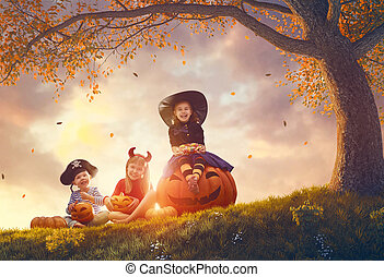 kinder, an, halloween
