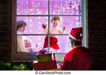 kinder, anschauen, santa, auf, weihnachtsabend