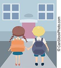 Schulweg Clipart