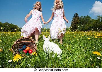 kinder, auf, osterei- jagd, mit, kaninchen