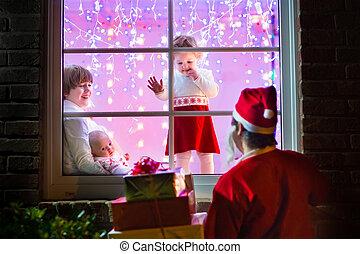 kinder, aufpassen, santa, auf, weihnachtsabend