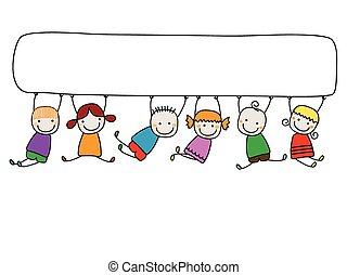 kinder, banner, glücklich